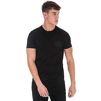 Men's Armani Embroidered Square Logo T-Shirt in Black
