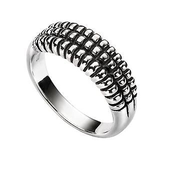 Elemente Silber Frauen's 925 Sterling Silber strukturiert oxidierte Detailring