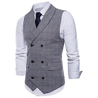Weste Männer Jacke ärmellos, Vintage Tweed Frühling, Herbst, Plus Größe Weste