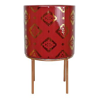Kasbah Design Ceramic Planter, Red