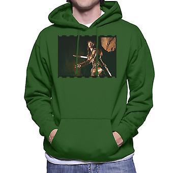 Xena Warrior Princess Fighting Men's Hooded Sweatshirt