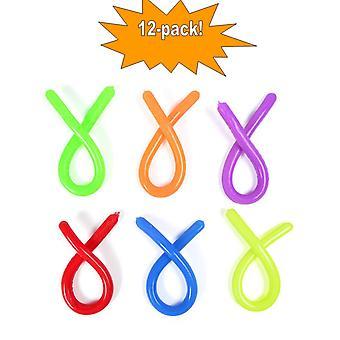 12-pak Elastisk Noodle String Neon Børn Fidget Sensory Legetøj - Diverse farver