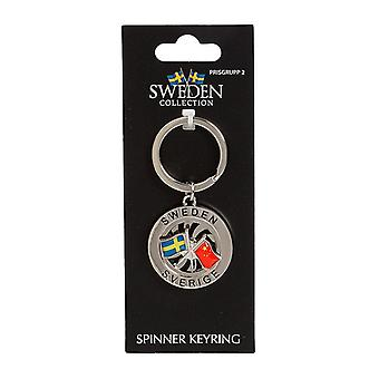 Nøkkelring Souvenir Spinner Flagg Sverige Kina