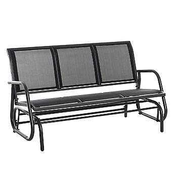 Outsunny 3-Seat Glider Rocking Chair for 3 People Garden Bench Patio Furniture Metal Frame