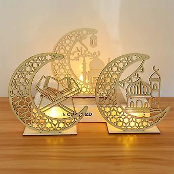 EID Mubarak Holz Anhänger mit LED-Kerzen Licht Ramadan Dekorationen für Haus islamische nisch muslimische Partei Eid Dekor Kareem Ramadan