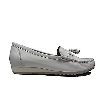 Caprice 24250-102 White Leather Womens Slip On Loafer Shoes