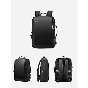 حقيبة ظهر حديثة مضادة للماء مع شحن USB وحزام الأمتعة (أسود 15.6 بوصة)