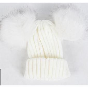 Baby Stuff Double Pom Pom Winter Knitted Warm Thicker Beanie Cap