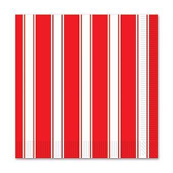 Servilletas de bebida de rayas rojas y blancas (pack de 12)