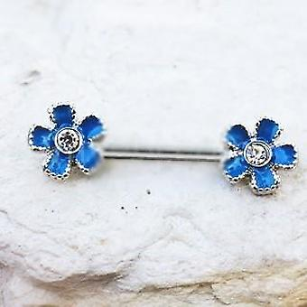 316l Stainless Steel Jeweled Teal Blue Flower Nipple Bar