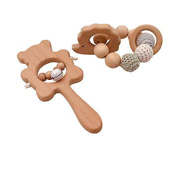 Børn's træ teether sticks, baby teether legetøj sæt