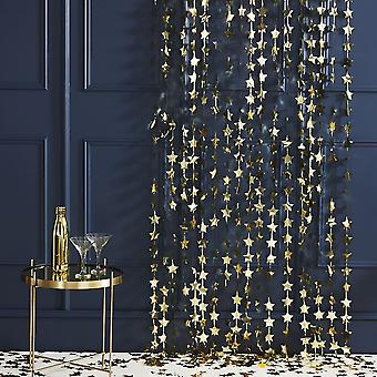 Achtergrond ster gordijn goud-Kerstmis Feestdecoratie 1.2 m x 2m