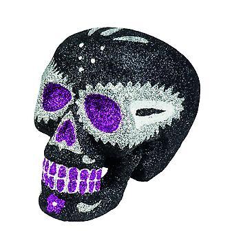 Glinsterende zwarte schedel decoratie 16 x 13 cm Dia de los muertos