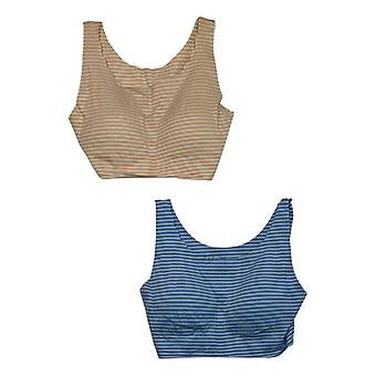 Rhonda Shear Women's 3XL Reg 2-pack Striped Body Bra Blue 704349