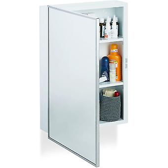 Bathroom Mirror Cabinet, Hanging Home Pharmacy, Steel, Wall-Mount, 3 Tiers, White, HWD: 56x40.5x12.5