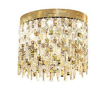 Diseño techo de cristal ligero oro pulido, 6x G9
