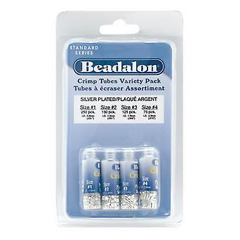Beadalon Crimp Pärlor, Rör 4 storlekar Mix, 600 Stycken, Silver pläterade