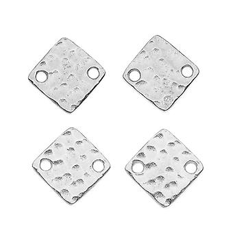 TierraCast Rhodium Plated Pewter 12mm Hammered Square Connectors (4)