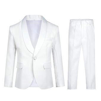 Mile Boy's Solid Color Single-breasted Suit Slim And Comfortable Two-piece Suit (top & Pants) 2 Colors