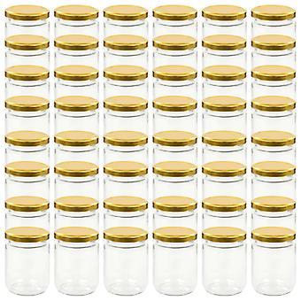 vidaXL Jam jars with golden lid 48 pcs. 230 ml