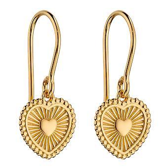 Principios 925 Plata esterlina Mujeres Oro bañado Sun Ray Texturizado Patten Bonito Corazón Colgantes de gancho