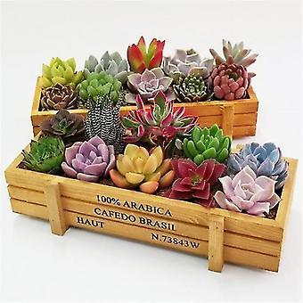 Wooden Rectangle Trough Box Plant Bed Flower Herb Planter Succulent Plant Box Plant Pot(Log Color)