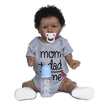 56Cm fait à la main doux corps entier silicone peinture détaillée objets de collection rebborn poupée bébé afro-américain