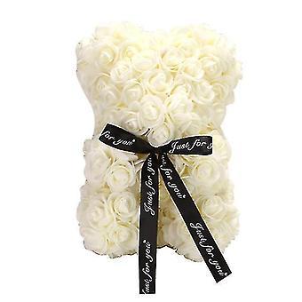 Valentine's day gift 25 cm rose bear birthday gift£? memory day gift teddy bear(Milky White)