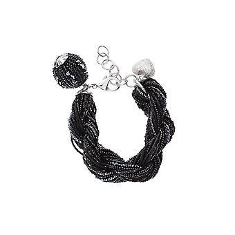 Ottaviani jewels bracelet with black beads 470556