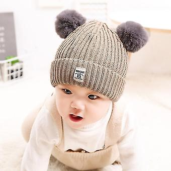 Autumn and Winter Children Cotton Double Ball Earmuffs Knitted Hat, Size:Plus Cashmere(Khaki)