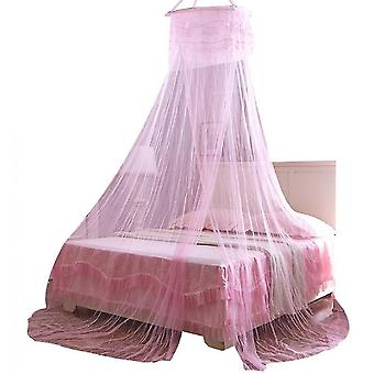 Princess Does Not Need To Install Encrypted Heightening Ceiling Dome Mosquito Net(Pink)