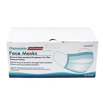 Anti-fog Mask Face Mask Disposable Comfortable 3 Layer Breathable Facemasks Pack of 50