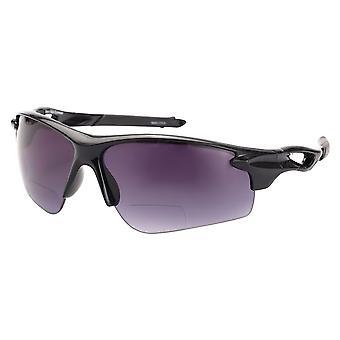 """The Athlete"" Polarized Lightweight Sport Wrap Bifocal Sunglasses - Black - 2.50"