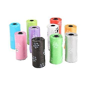 (Willekeurige kleur/10 rollen) Kleurrijke print huisdier hond poep zakken rollen