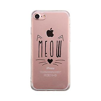 Meow Kitty Face Transparent Phone Case Cute Clear Phonecase