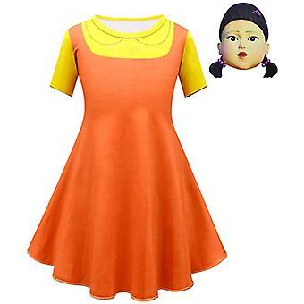 Kalmari peli puinen tyttö puku Halloween naamiaiset Cosplay Mekko ei voi toimittaa ennen Halloweenia