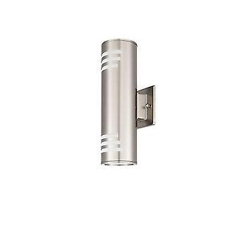 Lumina de perete în aer liber, 304 din oțel inoxidabil și sticlă securizată coaxial sconce, impermeabil, E27, 8.7 inch înălțime, certificare ul. (argintiu, Înălțime 33cm)
