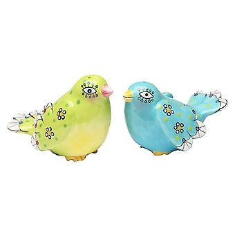 Green and Blue Bird Salt and Pepper Shakers Set