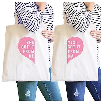 She Got It From Me Natural Cute Design Canvas Tote Bag Mom Gifts