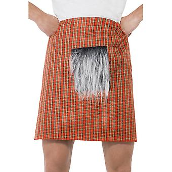 Kilt de traje de kilt saia Tartan escocês com parte da pele