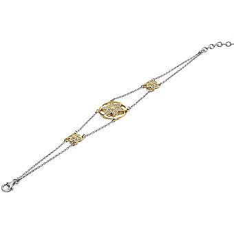 925 فضة مطلية بالذهب وسوار زهرة زركونيوم رباعي
