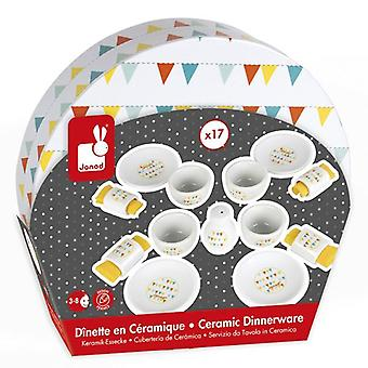 Janod Toy Happy Day Ceramic Picnic Set Dinnerware 17 piece