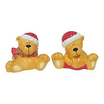 Cute Santa Teddy Bears Salt and Pepper Shakers
