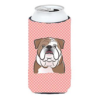 Checkerboard Pink English Bulldog  Tall Boy Beverage Insulator Hugger
