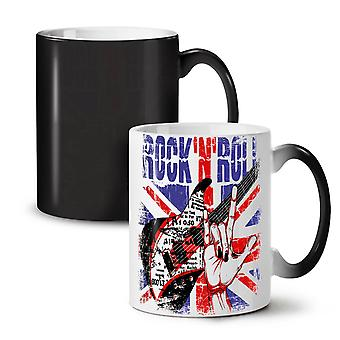 Rock Roll UK Metal NEW Black Colour Changing Tea Coffee Ceramic Mug 11 oz | Wellcoda