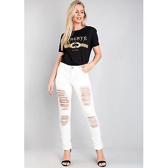 Geripte vriendje hoge stijging Denim Jeans wit