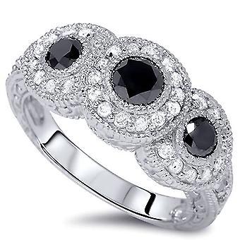 1 1 / 2ct Vintage Black Diamond Ring 3-kamień 14k białe złoto