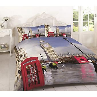 London Multi 3D London Bridge Duvet Quilt Cover Bedding Set