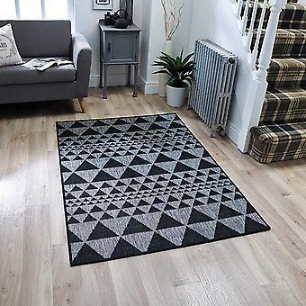 Tapetes de moda Flatweave prisma preto retangular tapetes liso/quase lisos