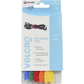 VELCRO® VEL-EC60250 Hook-and-loop cable tie for bundling Hook and loop pad (L x W) 200 mm x 12 mm Blue, Green, Red, Orange, Yellow 5 pc(s)